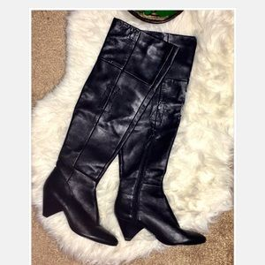 ROSEGOLD BLACK THIGH HIGH LEATHER BOOTS 6.5